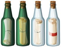 Four glass bottles with message. Illustration Royalty Free Stock Photography