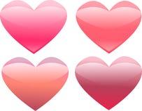 Four glass shiny hearts Royalty Free Stock Photo