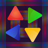 Four glass triangular signs of different colors with decoration lines Stock Photography