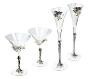 Four glass wine goblets Royalty Free Stock Images