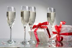 Four glasses with champagne Stock Photo