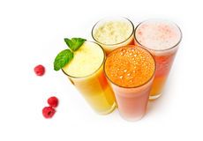 Four  glasses of different fresh juice Stock Photo
