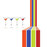 Four glasses and four color line vector Stock Images