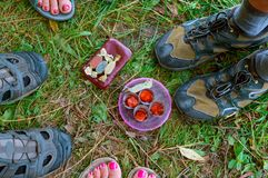 Four glasses, four pairs of legs, four candies, a picnic Stock Photo