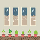 Four Glasses Windows With Pot Plants On Wooden Floor Royalty Free Stock Photo