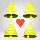 Four glittering golden bell decoration vector pack Stock Images
