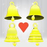 Four glittering golden bell series Royalty Free Stock Images