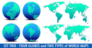 Four Global Worlds and Two world maps - SET TWO Stock Image
