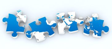 Four globe puzzles isolated. On white Stock Photography