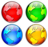 Four Globes Illustration. Four differently colored glassy globes, which could represent the four seasons. Globe depicts northern hemisphere / North/South America royalty free illustration