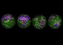 Four Globes002. Four Globes on black002 royalty free illustration