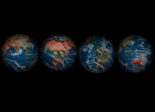 Four Globes004 Stock Photos