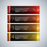 Four glossy banners with glowing stripes and numbers from one to four. Useful for tutorials or advertising. Royalty Free Stock Images