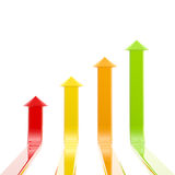 Four glossy and bright arrows growing up Royalty Free Stock Image