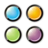 Four glossy buttons. Set of colored glass buttons for rollover-effects Royalty Free Stock Photos