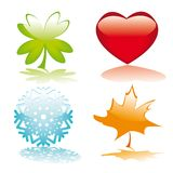 Four glossy buttons for holidays Stock Photography