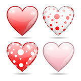 Four glossy hearts, Valentine concept Royalty Free Stock Images