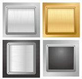 Four glossy metallic plates on a backgrounds Royalty Free Stock Photography