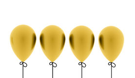 Four gold balloons rendered on white. Background Stock Photography