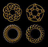 Four Gold Mathematical Knots - includes clipping path. 3D render of four mathematical knots - great for collage elements, web icons, and more Royalty Free Stock Photography