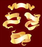 Four gold ribbons. Four the gold bent ribbons on a red bright background Royalty Free Stock Photo