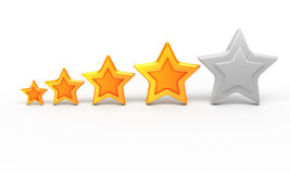 Four gold star for ranking Stock Image