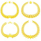 Four gold wreaths Stock Images