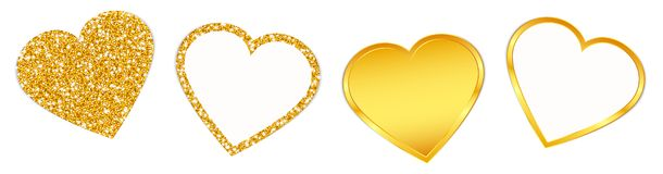 Four Golden Hearts Sparkling And Shining Set stock illustration