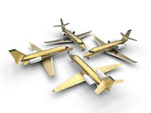 Four golden luxury private jet. 3D render illustration of four golden luxury private jet. The composition is isolated on a white background with shadows Royalty Free Stock Photos