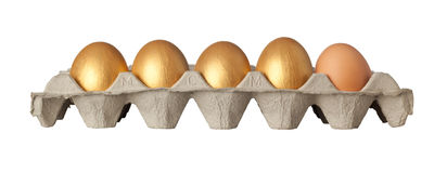 Four golden and one chicken eggs. On a tray isolated on white background Stock Photography