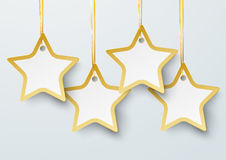 Four Golden Price Stickers Stars PiAd. Golden price stickers with stars on the grey background. Eps 10 file royalty free illustration