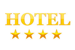 Four Golden Stars Hotel Sign. 3d Rendering Stock Photography
