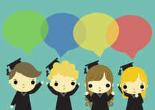 Four of graduate talking. Four of man and woman who graduate and text box above their head Royalty Free Stock Image