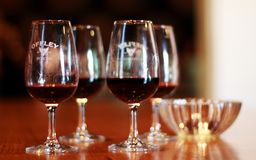 Four grasses with port wine in the tasting room stock photos