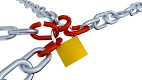 Four Gray Chains with Four Red Bended Links Locked. With a Padlock Stock Images