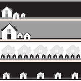 Four grayscale banners with houses. Royalty Free Stock Image