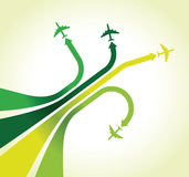 Four green airplanes Royalty Free Stock Images