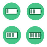 Four green battery Icon. Royalty Free Stock Photography