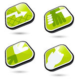 Four green business icons. Four green and white business rounded square icons with black borders, isolated against a white background with shadows visible Stock Images