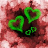 Four green flying hearts made of smoke over cloud background.  Royalty Free Stock Photos