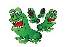 Four green frogs Stock Photos