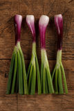 Four green onions on wooden table Royalty Free Stock Image