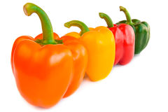 Free Four Green Peppers Bell Peppers Isolated On White Background. Royalty Free Stock Image - 72480726