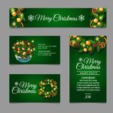 Four green posrcard with Christmas decor Royalty Free Stock Image