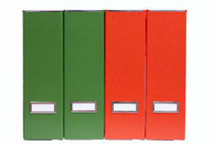 Four green and red  file binders Royalty Free Stock Photo