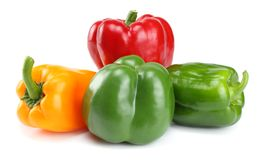Four green, red, yellow sweet bell peppers isolated on white background Stock Image
