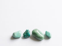 Four green semi-precious stones Royalty Free Stock Photography
