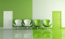 Four green and white armchair Royalty Free Stock Images