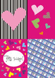 Four greeting cards. Set of four colorful greeting cards with colored hearts for Valentine's day Royalty Free Stock Photography