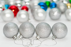 Four grey Christmas balls Royalty Free Stock Photo